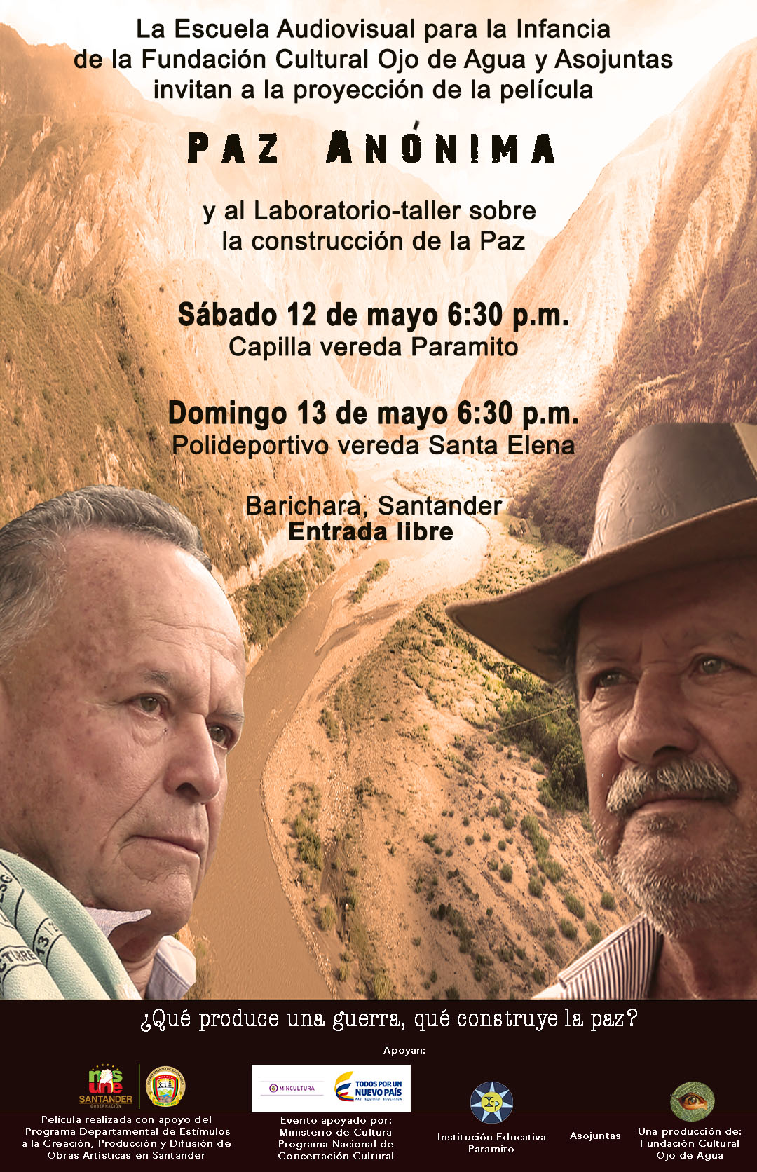 Invitación película Paz Anónima veredas Barichara